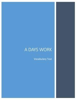 A Days Work Vocabulary Assessment