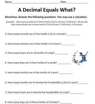 A Decimal Equals What?