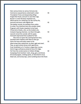 A Description of a City Shower - Study guide questions and poem