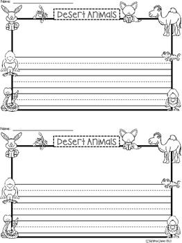 A+ Desert Animals ... Writing Paper