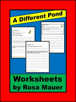 A Different Pond Book Reading Comprehension Worksheets and Activities