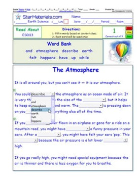 A Differentiated I-Cloze for iPads or Paper - 72 Page Atmosphere Pack ES-IC001