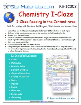 A Differentiated I-Cloze for iPads or Paper - 72 Page Chemistry Pack PS-IC002