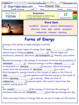 "A Differentiated I-Cloze for iPads or Paper - 72 Page ""Energy"" Package ES-IC005"
