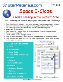 A Differentiated I-Cloze for iPads or Paper - 72 Page Space Pack ES-IC003
