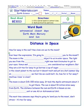 A Differentiated I-Cloze for iPads or Paper - Distances in Space BE302