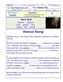 A Differentiated I-Cloze for iPads or Paper - Chemical Energy PS018