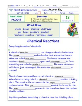 A Differentiated I-Cloze for iPads or Paper - Chemical Reactions PS004