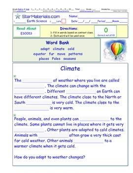 A Differentiated I-Cloze for iPads or Paper - Climate ES005