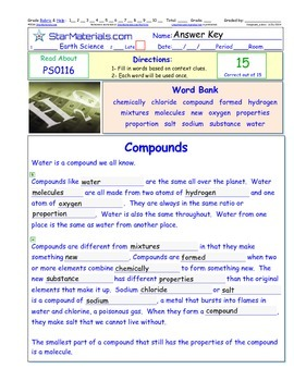 A Differentiated I-Cloze for iPads or Paper - Compounds PS011