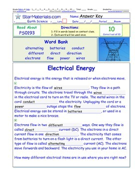 A Differentiated I-Cloze for iPads or Paper - Electrical Energy PS019