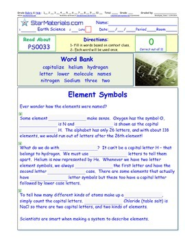 A Differentiated I-Cloze for iPads or Paper - Element Names PS003