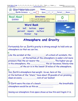 A Differentiated I-Cloze for iPads or Paper - Gravity ES008