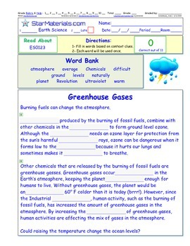 A Differentiated I-Cloze for iPads or Paper -Greenhouse Gases  ES012