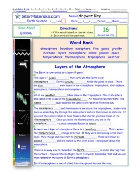 A Differentiated I-Cloze for iPads or Paper - Layers of Atmosphere ES004