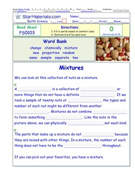 A Differentiated I-Cloze for iPads or Paper - Mixtures PS010
