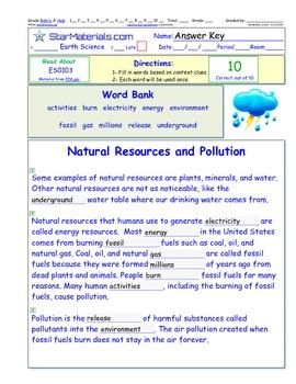 A Differentiated I-Cloze for iPads or Paper - Natural Resources Pollution ES010