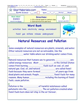 A Differentiated I-Cloze for iPads or Paper - Natural Resources and Pollution