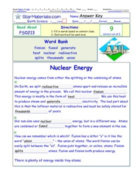 A Differentiated I-Cloze for iPads or Paper - Nuclear Energy PS021