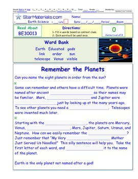 A Differentiated I-Cloze for iPads or Paper - Remember the Planets SS001
