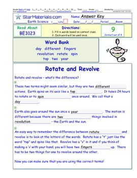 A Differentiated I-Cloze for iPads or Paper - Rotate and Revolve BE312