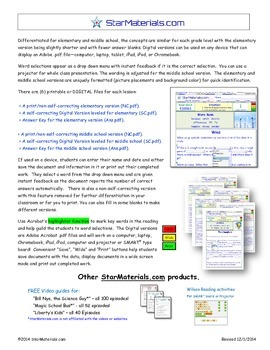 A Differentiated I-Cloze for iPads or Paper - Stars and Galaxies  BE309