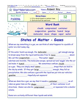 A Differentiated I-Cloze for iPads or Paper - States of Matter - Gases PS009