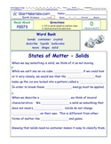 A Differentiated I-Cloze for iPads or Paper - States of Matter - Solids PS007