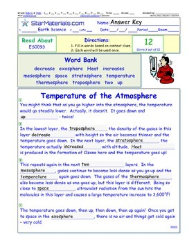 A Differentiated I-Cloze for iPads or Paper - Temperature of Atmosphere ES009