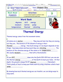 A Differentiated I-Cloze for iPads or Paper - Thermal Energy PS022