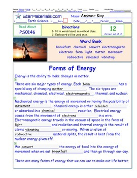 A Differentiated I-Cloze for iPads or Paper - Types of Energy PS014