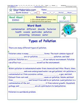 A Differentiated I-Cloze for iPads or Paper - Types of Pollution ES002