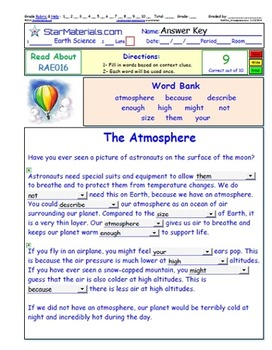 A Differentiated Interactive I-Cloze – Atmosphere - Reading in Content ES0113