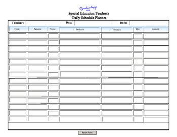 A Daily Scheduler Form for the Self-Contained Classroom! i