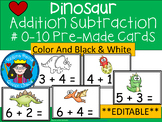 A+  Dinosaur Addition & Subtraction Fluency Practice Cards # 0-5