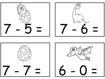 A+  Dinosaur Addition & Subtraction Fluency Practice Cards # 0-5