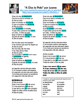 A Dios le Pido - Spanish Song Lyrics and Cloze Activity - Juanes