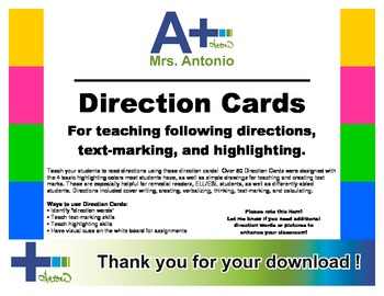 A+ Direction Cards - Pictures/Words/Colors