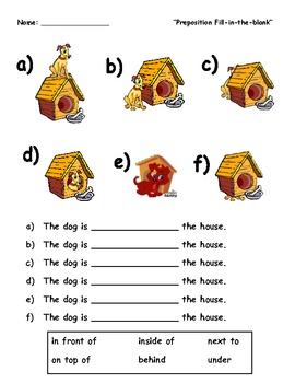 """""""A Dog and His House"""" : English Preposition Fill-in-the-Blank Activity"""