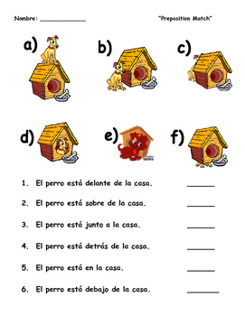 """""""A Dog and His House""""- Spanish preposition match"""