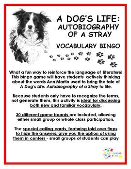 A Dog's Life: Autobiography of a Stray Vocabulary Bingo