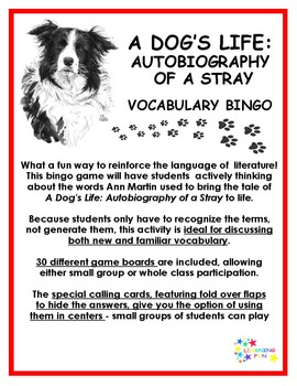 A Dog's Life: Autobiography of a Stray Vocabulary Bingo