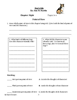 A Dog's Life Reading Skills Worksheets
