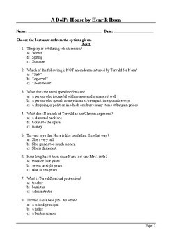 A Doll's House - 50 Question Multiple Choice Quiz / Assessment