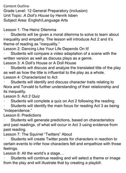 A Doll's House Acts 2 & 3 ELA 11th/12th Grade NO PREP Complete Unit