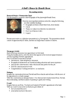 A Doll's House - Writing and Research Extension Assignments