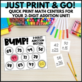 Double Digit Addition Activities - Task Cards, Word Problems & Partner Game