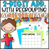 Double Digit Addition with Regrouping - Task Cards, Word Problems & Game