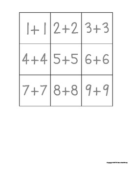 A Doubles Memory Math Game