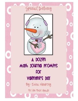 A Dozen Math Journal Prompts for Valentine's Day FREEBIE